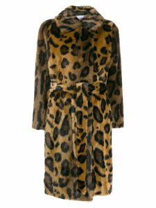 Stand leopard print coat - Brown