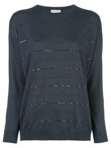 Brunello Cucinelli long sleeve fine knit top - Blue