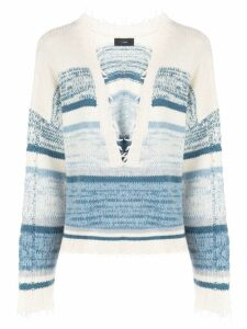 Alanui frayed edge knitted jumper - Blue