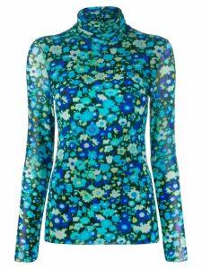 Ganni floral-print mesh top - Blue