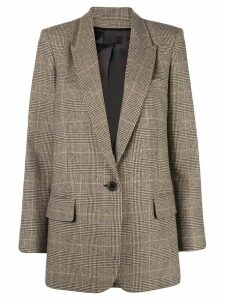 Nili Lotan single breasted checked blazer - Brown