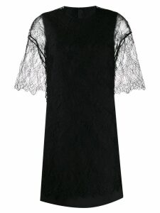 Valentino lace panelled straight dress - Black