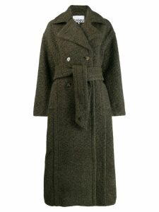 Ganni double-breasted belted coat - Green