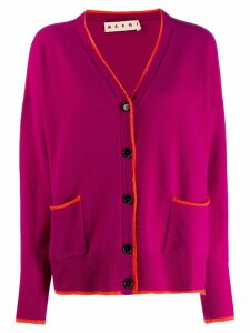 Marni contrasting piping detailed cardigan - PURPLE