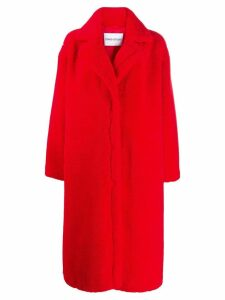 Stand oversized single-breasted coat - Red