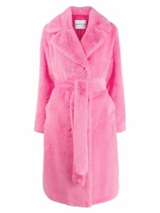 STAND STUDIO belted double-breasted coat - Pink
