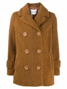 Stand double-breasted fitted coat - Brown