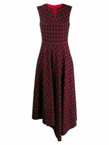 Talbot Runhof tartan print long dress - Red