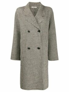 Odeeh check print coat - NEUTRALS