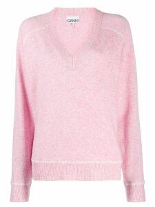 Ganni v-neck jumper - Pink