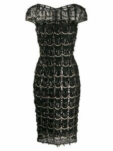 Talbot Runhof sequin fringe detail dress - Black