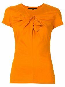 Paule Ka draped bow-embellished T-shirt - Orange