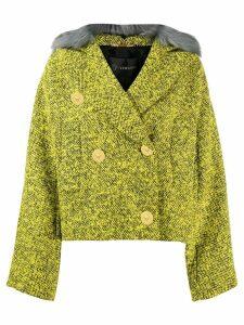 Versace faux fur trim tweed jacket - Green