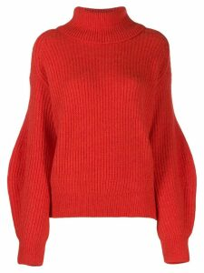 Closed oversized ribbed jumper - Red