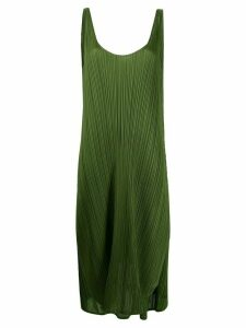 Pleats Please Issey Miyake pleated slip dress - Green