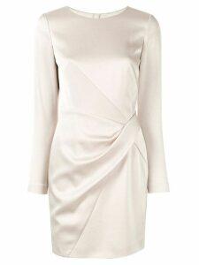 Paule Ka drape detail crepe dress - White