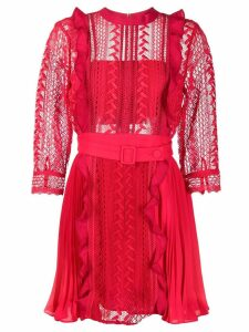 Self-Portrait geometric lace dress - Red