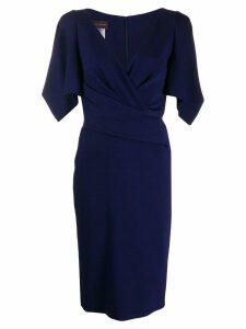 Talbot Runhof v-neck wrap dress - Blue