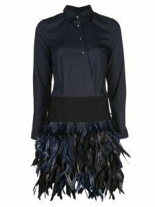 Sara Roka feather embellished shirt dress - Blue