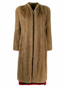 Philipp Plein colour block long coat - Brown