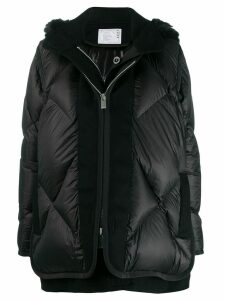Sacai layered padded coat - Black