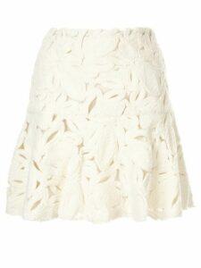 Paule Ka velveteen floral mini skirt - White