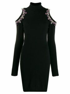 Moschino crystal-embellished cutout jumper dress - Black