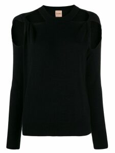 Nude cut-out crew. neck jumper - Black