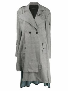 Barbara Bologna contrast-patch plaid coat - Grey