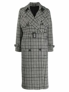 Tagliatore check print trench coat - Black