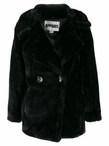 Apparis double-breasted faux-fur coat - Black