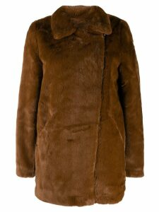 Apparis faux-fur zip-up coat - Brown