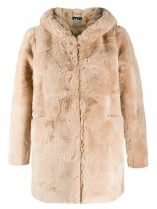 Apparis hooded faux-fur coat - NEUTRALS