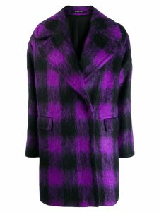 Tagliatore oversized plaid coat - PURPLE