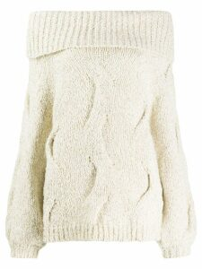 Snobby Sheep loose-fit off-the-shoulder jumper - Neutrals