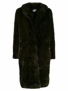 Apparis faux-fur midi coat - Green