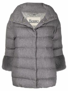 Herno contrast cuffs padded jacket - Grey