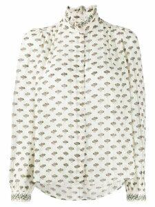 Masscob floral print sheer blouse - White