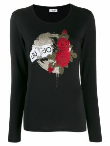 Liu Jo graphic print long-sleeved T-shirt - Black
