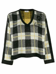 LIU JO checked V-neck jumper - Black