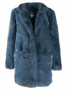 Apparis faux-fur midi coat - Blue