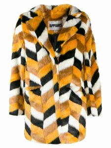 Apparis faux-fur chevron coat - Yellow
