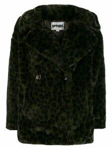 Apparis faux-fur button coat - Green