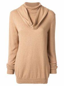 Jejia cowl neck jumper - Brown