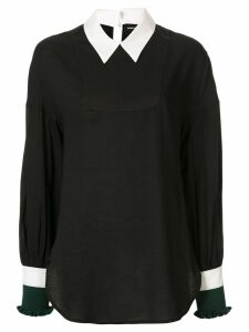 Undercover contrast collar blouse - Black