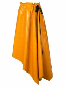 Proenza Schouler Asymmetrical Shiny Leather Mid Skirt - Orange