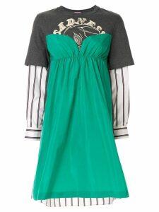 Sueundercover panelled long-sleeved dress - Grey