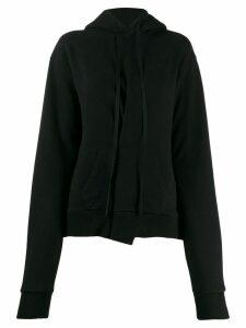Unravel Project asymmetric pleat hoodie - Black