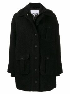 Ganni double-layer utility pocket coat - Black