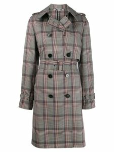 Stella McCartney checked double-breasted belted trench - NEUTRALS